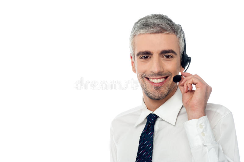 Download Smiling Customer Support Executive Stock Photo - Image of center, expert: 38710682
