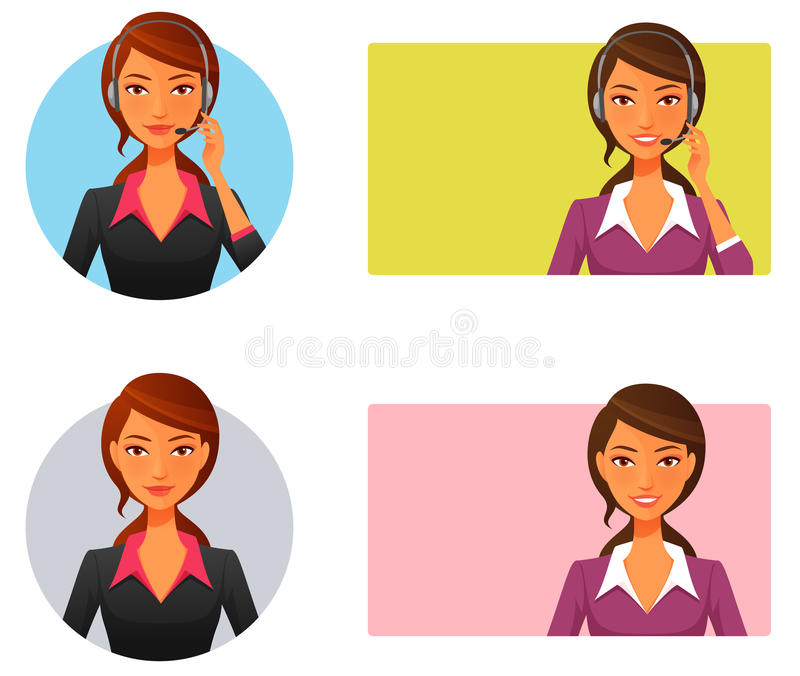 Smiling customer support operator royalty free illustration