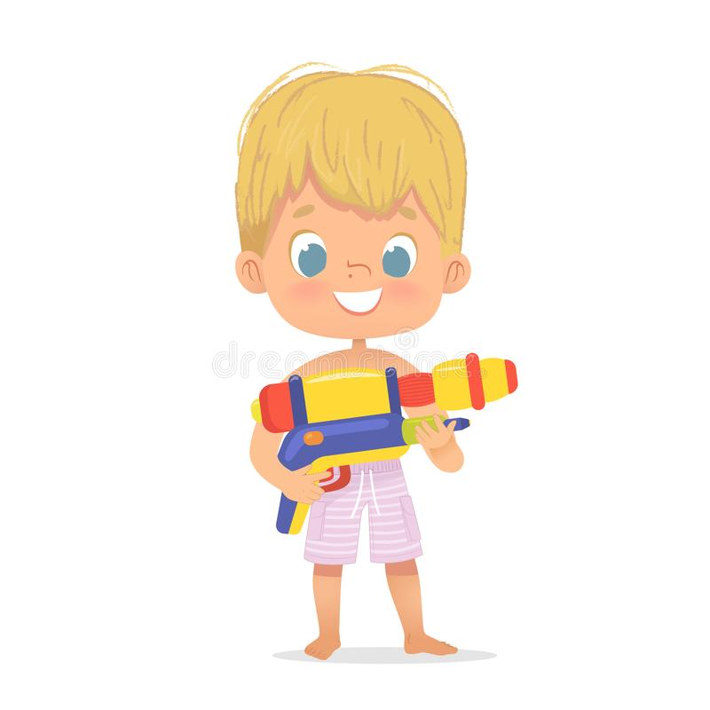 Smiling Cute Blond Baby Boy With a Toy Water Gun Posing. Pool Party Character with a Toygun. Beach Boy Character. Isolated royalty free illustration