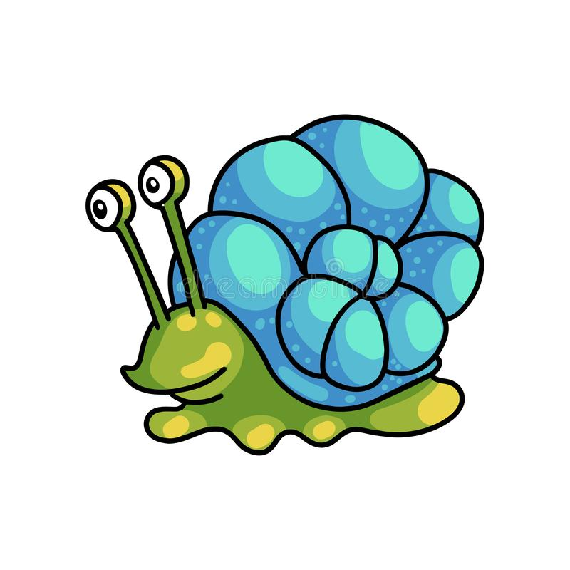 Free Smiling Cute Green Snail With Colorful Blue Shell Royalty Free Stock Photography - 144642637