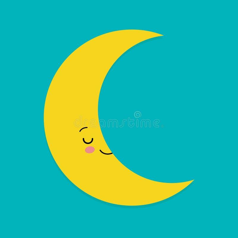 Smiling Cute Moon Cartoon Mascot Character. Vector Illustration. For children royalty free illustration