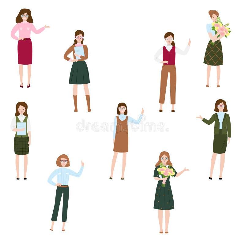Elegant women in different poses set. Raster illustration in flat cartoon style stock illustration