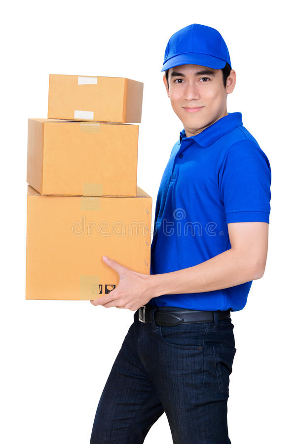Smiling delivery man carrying parcel box royalty free stock photography
