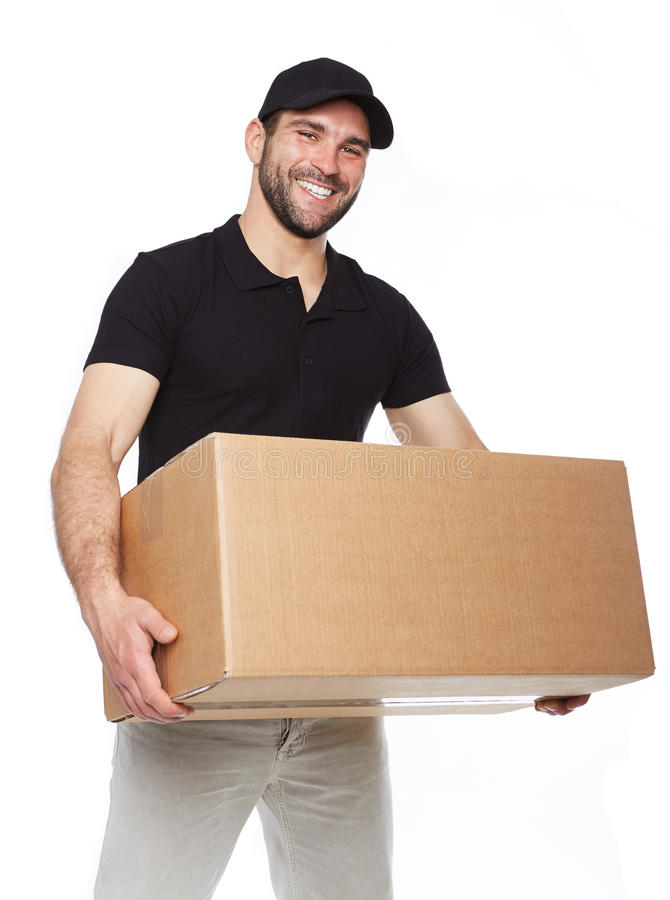 Smiling delivery man giving cardbox. On white background royalty free stock image