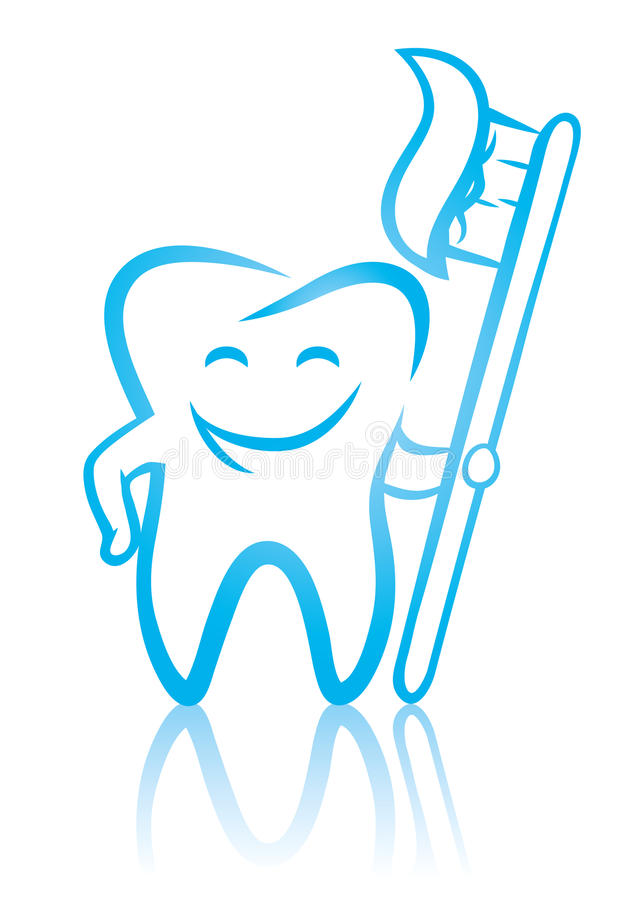 Smiling dental tooth with toothbrush. Vector illustration of happy smiling dental tooth with toothbrush royalty free illustration