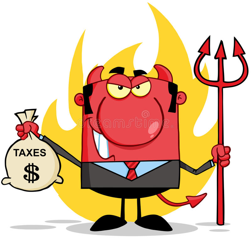 Download Devil With A Trident And Holding Taxes Bag Stock Vector - Image: 29902541