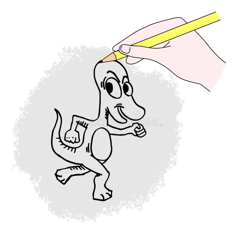 Download Smiling dinosaur stock vector. Image of design, hand - 21996784