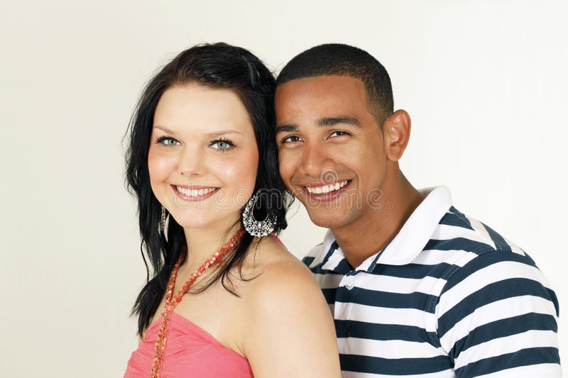Smiling diverse couple royalty free stock image