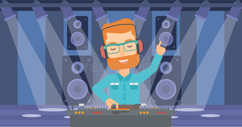 Smiling DJ with console. A hipster man in eadphones with hand up playing music on turntable on the background of night club vector flat design illustration royalty free illustration