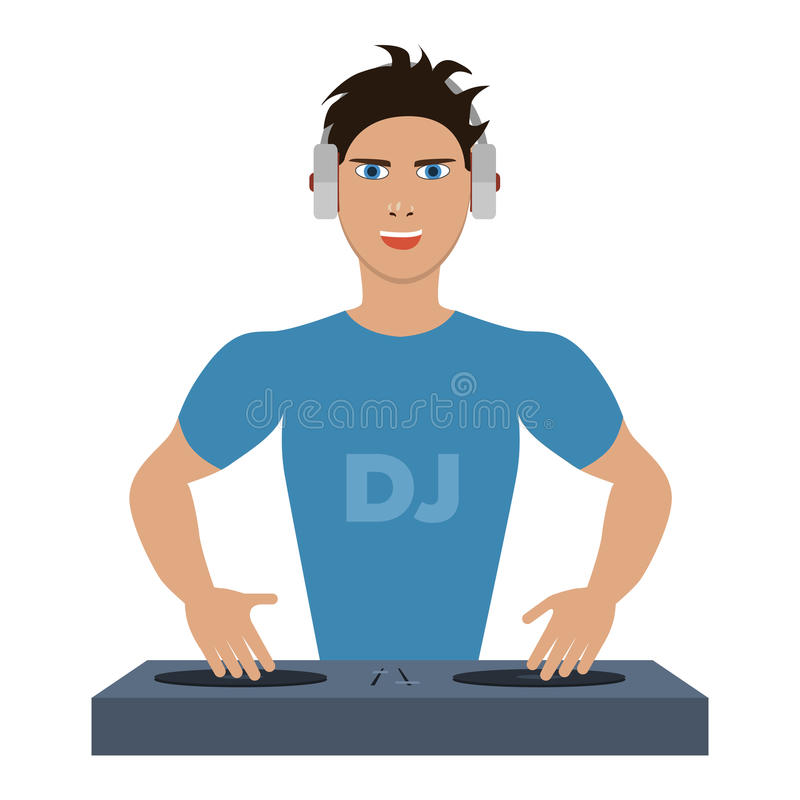 Smiling DJ with console. On a white background vector illustration