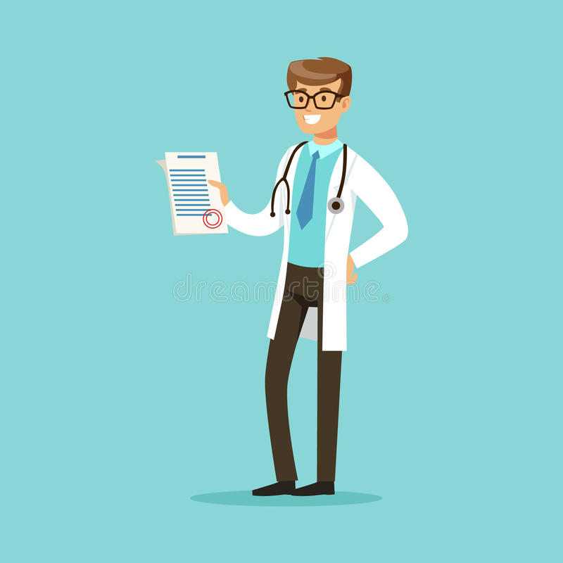 Smiling doctor character standing and holding medical notepad with prescription vector Illustration. On a light blue background royalty free illustration
