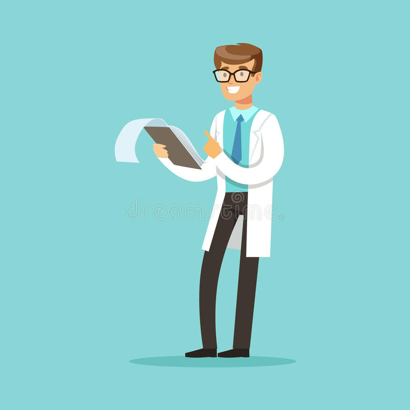 Smiling doctor character standing and reading medical notes vector Illustration stock illustration