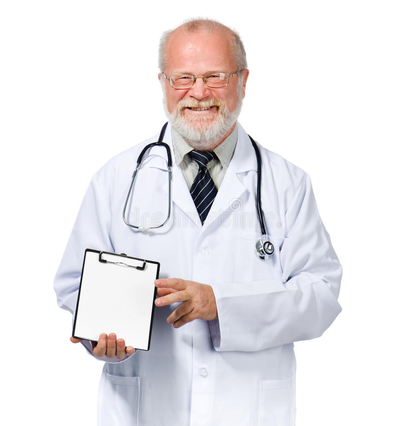 Smiling doctor with health record stock photo