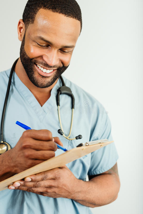 Download Smiling Doctor Or Male Nurse Portrait Stock Image - Image of face, camera: 30583907