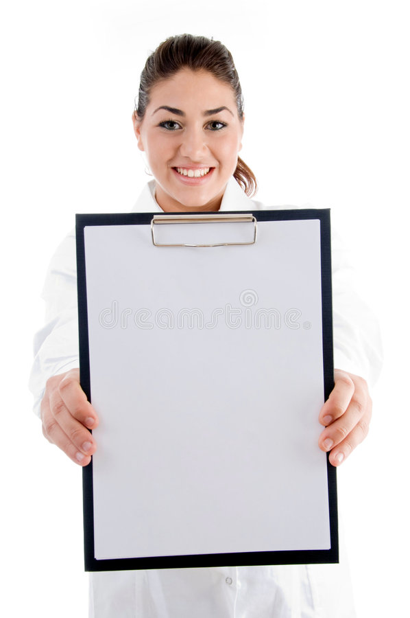 Download Smiling Doctor Showing Writing Pad Stock Image - Image: 7361323