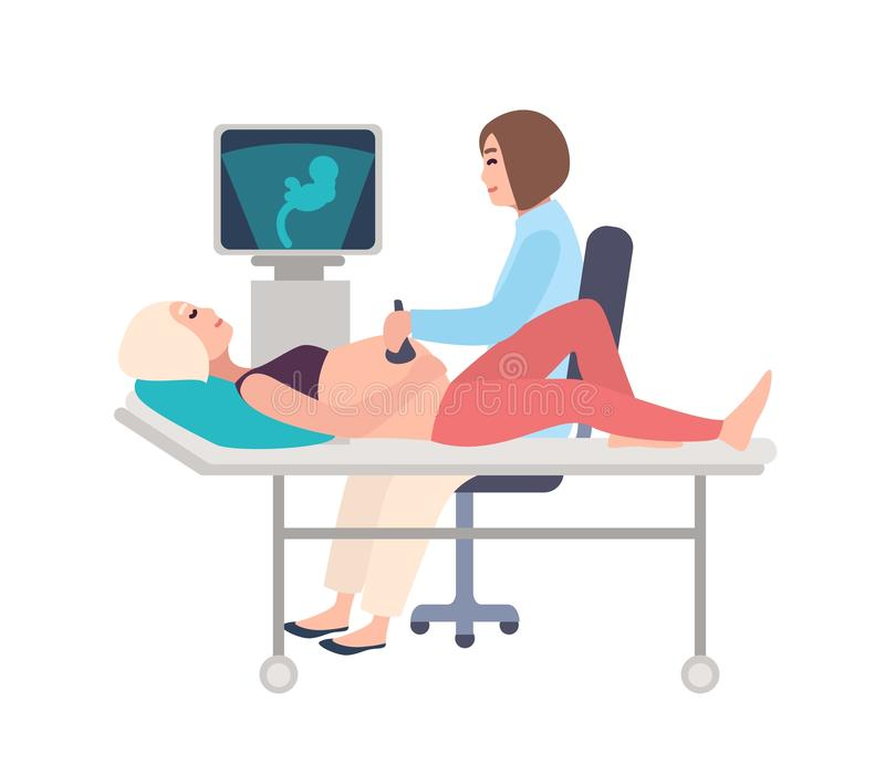 Smiling doctor or sonographer doing obstetric ultrasonography procedure on pregnant woman with medical ultrasound stock illustration