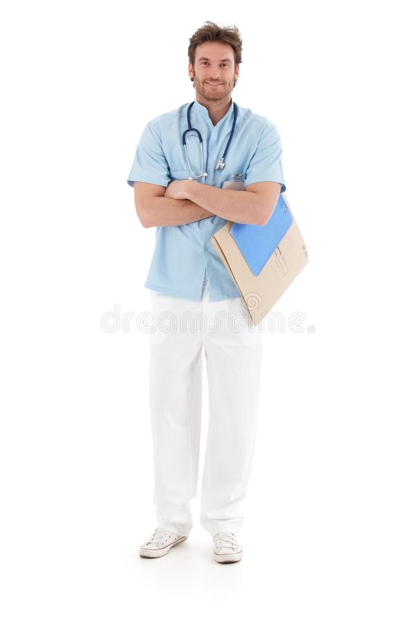 Download Smiling Doctor Standing Arms Crossed Stock Image - Image: 28760971