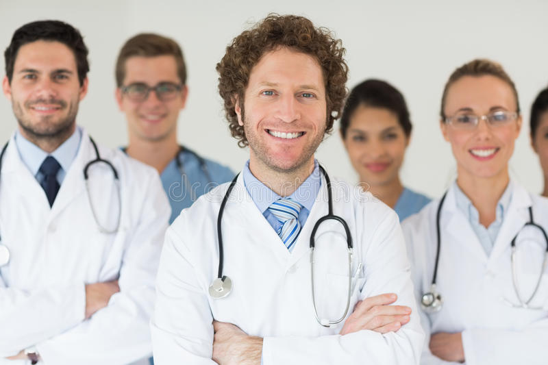 Smiling doctors and nurses stock photography
