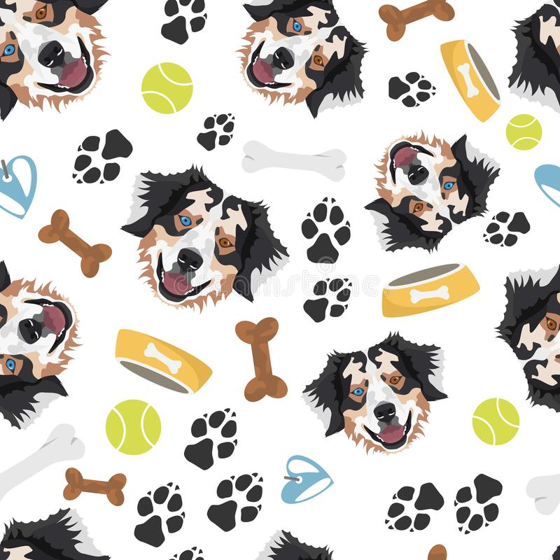 Smiling Dog Australian Shepherd. Seamless pattern with playful illustration of a dog and paw prints. The smiling dog is a great gift for dog owners royalty free illustration