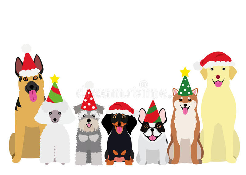 Smiling dogs with Christmas party hat royalty free illustration