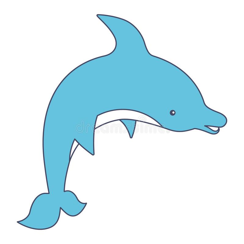 Smiling Dolphin Cute Cartoon Character stock illustration