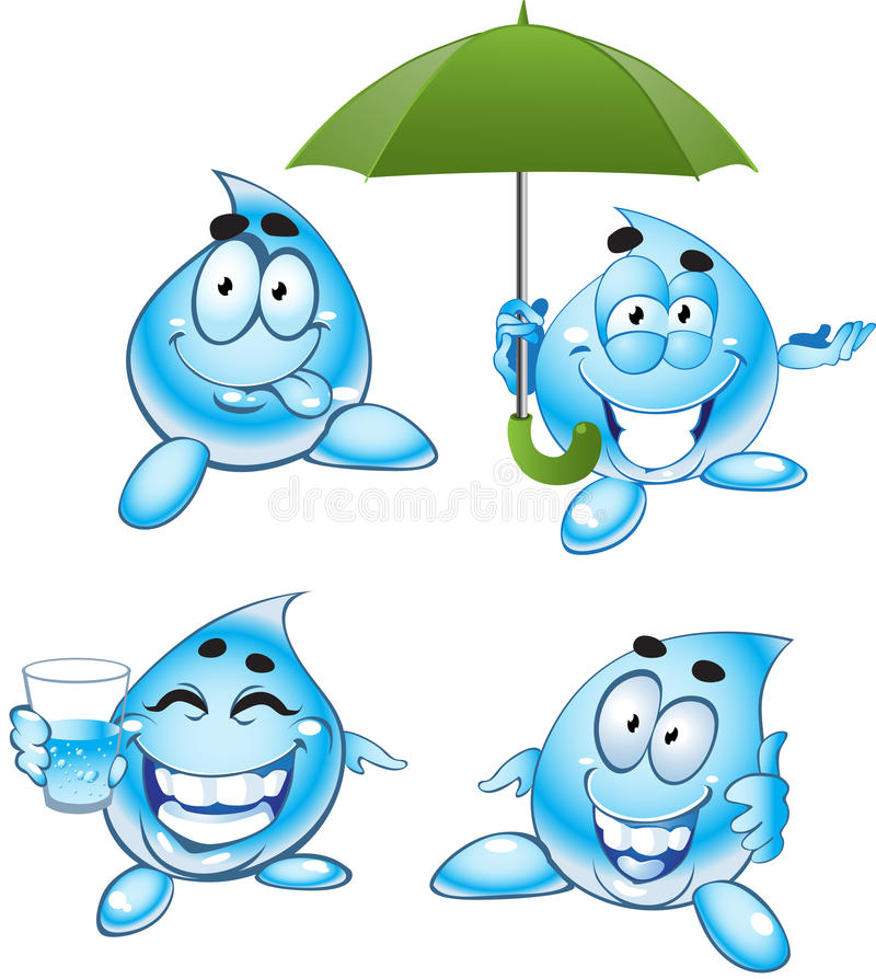 Smiling drops of clear water stock images