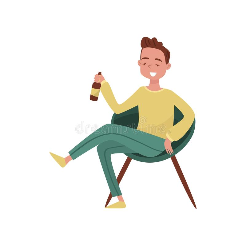 Smiling drunk young man cartoon character, guy sitting in chair with bottle of beer in his hands vector Illustration on vector illustration