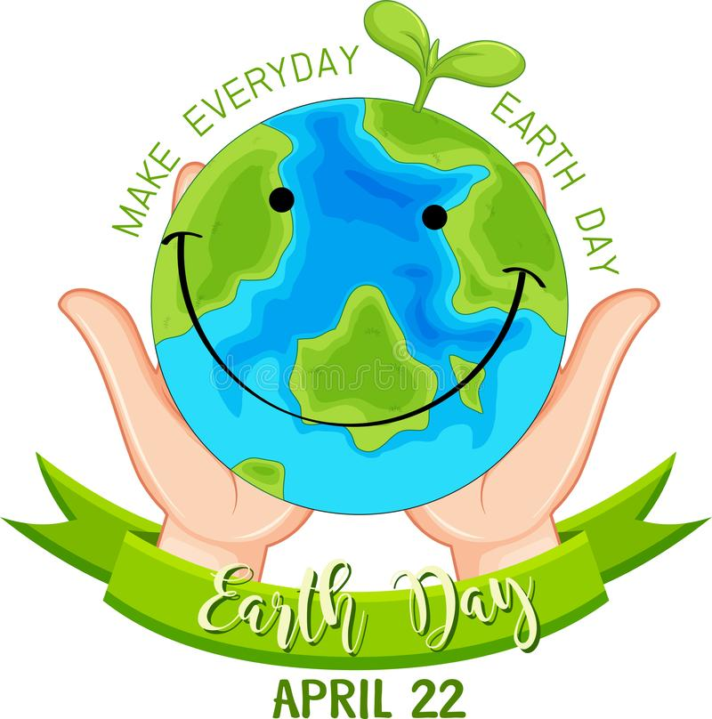 Smiling earth day poster. Illustration royalty free illustration