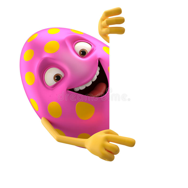 Smiling easter egg, funny 3D cartoon character stock illustration