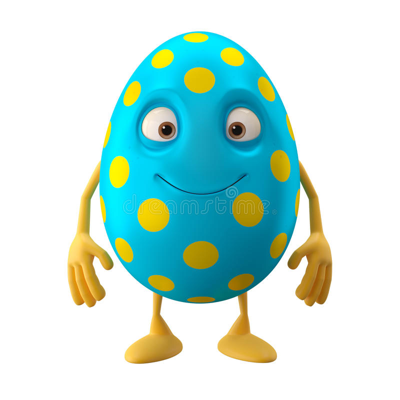Smiling easter egg, funny 3D cartoon character royalty free illustration