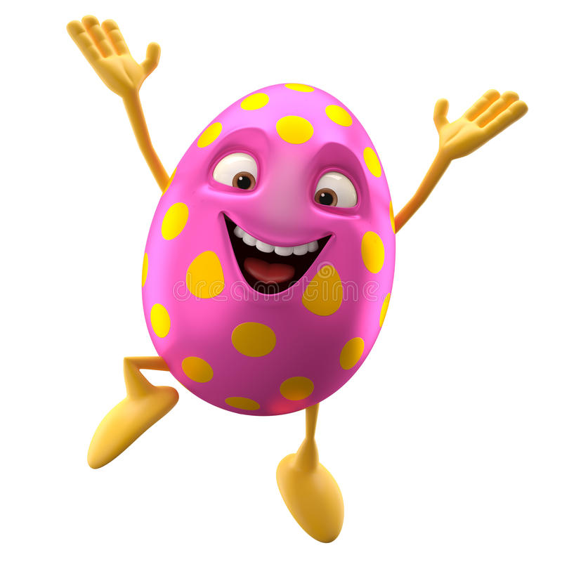 Smiling easter egg, funny 3D cartoon character, rejoicing jump stock illustration