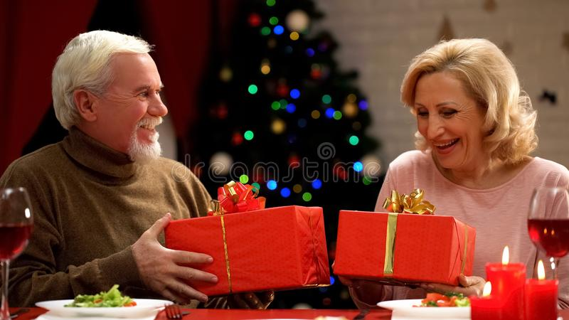 Smiling elderly couple holding Christmas presents, romantic atmosphere, holiday royalty free stock image