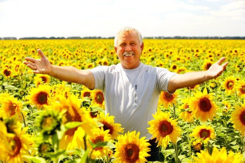 Smiling elderly man stock photos
