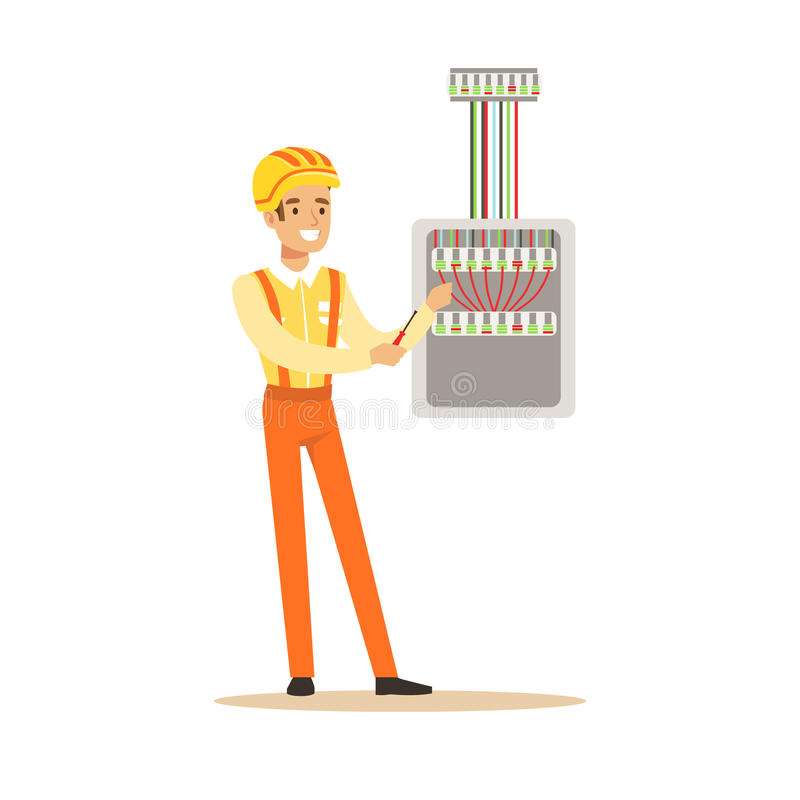 smiling electrician screwing equipment in fuse box, electric man fuse box cartoon drawing download smiling electrician screwing equipment in fuse box, electric man performing electrical works vector illustration