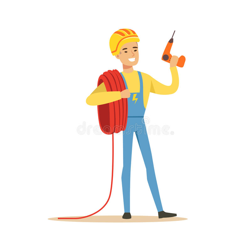 Smiling Electrician In Uniform Holding A Wire Roll And A Drill ...