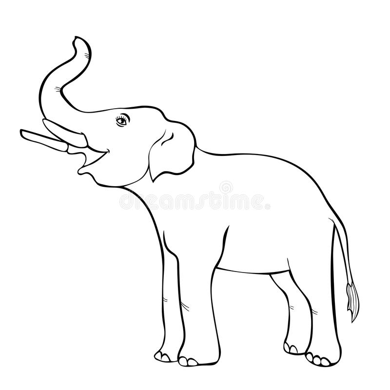Smiling the elephant sideways up the trunk. vector illustration. Smiling the elephant sideways up the trunk coloring vector illustration stock illustration