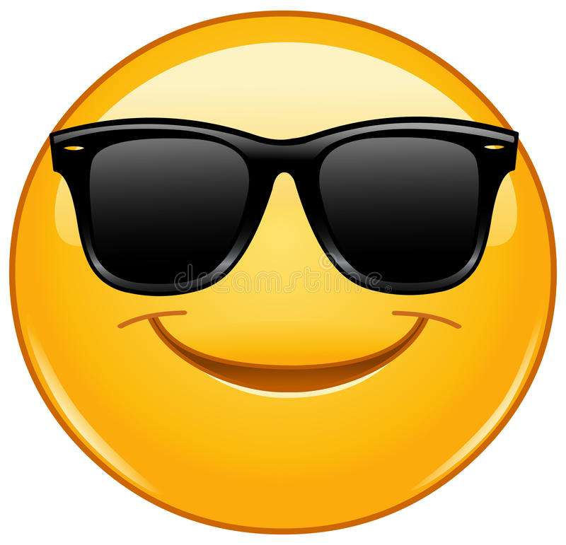 Smiling emoticon with sunglasses. Vector smiling emoticon with sunglasses