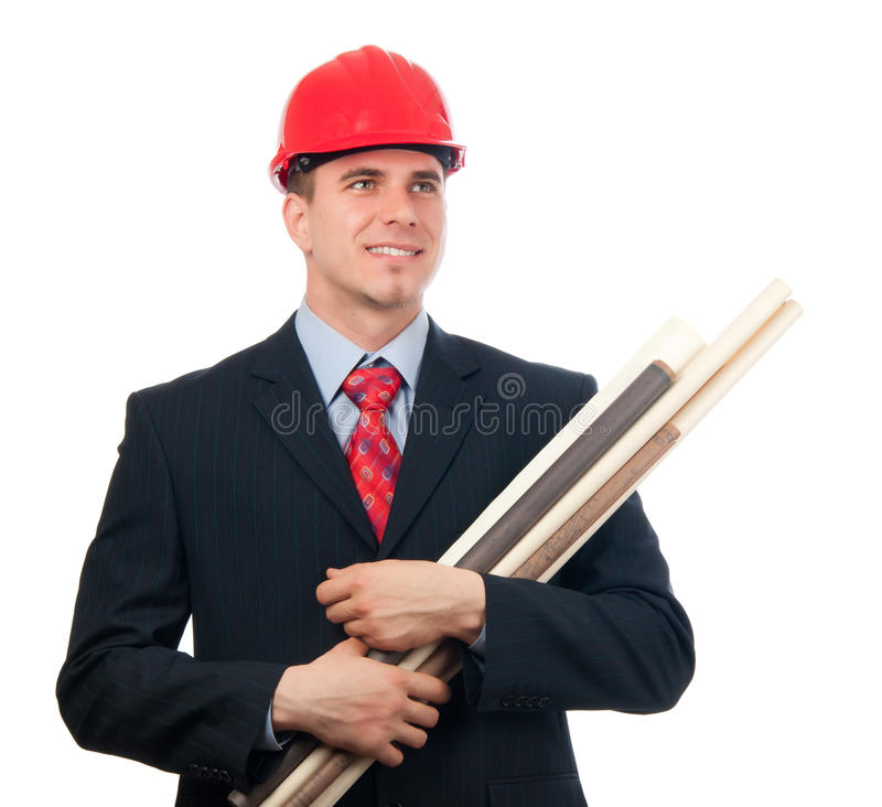 Download Smiling Engineer With Hard Hat And Blueprints Stock Image - Image: 23801479