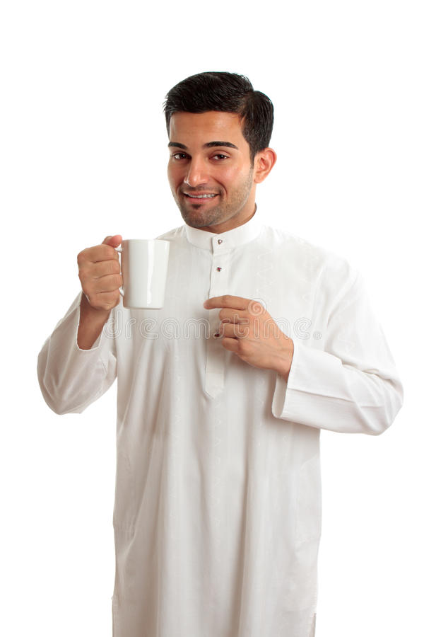 Free Smiling Ethnic Arab Man With Coffee Stock Photos - 13460373