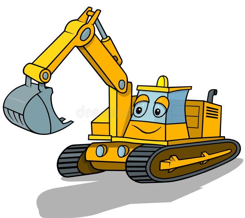 Smiling Excavator. Cartoon Illustration, Vector royalty free illustration