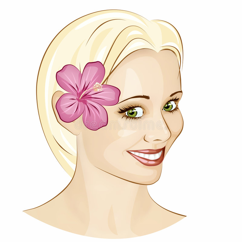 Smiling Face. Blonde green eyed girl with pink hibiscus flower in the hair royalty free illustration