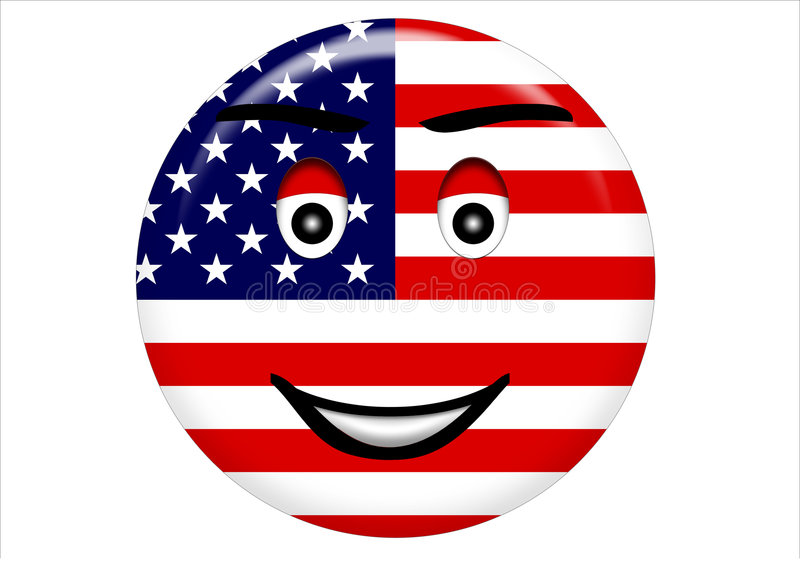 Smiling face on American flag stock photos