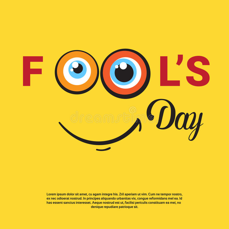 Smiling Face First April Fool Day Happy Holiday Greeting Card. Flat Vector Illustration vector illustration