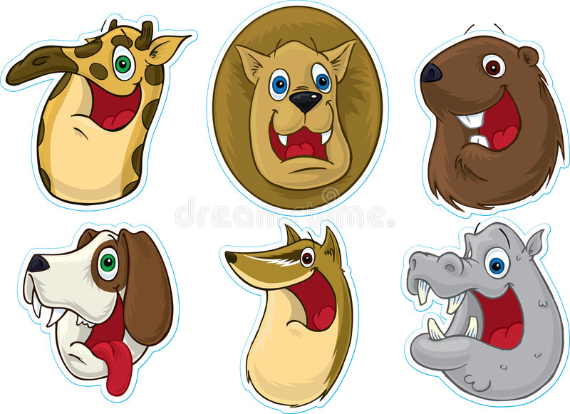 Download Smiling Face Fridge Magnet/Stickers  (Animals) #3 Stock Vector - Image: 5387765