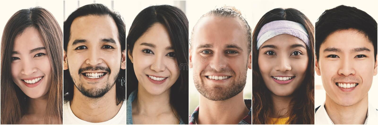 Smiling face group, Happy creative team group of multiethnic people expressing positive emotions and smiles stock photo