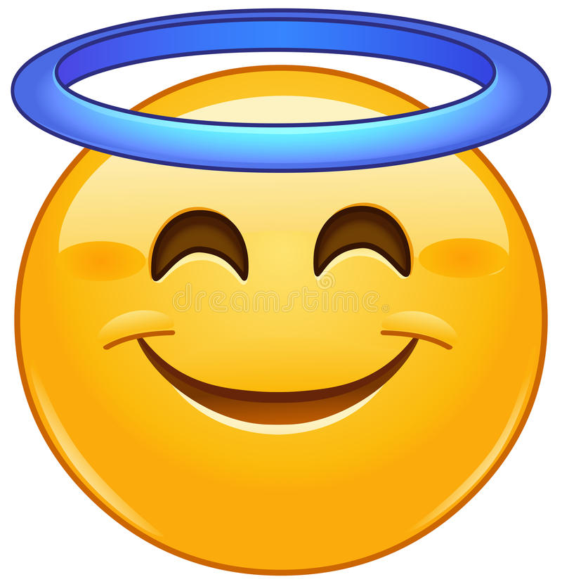 Smiling face with halo emoticon. Smiling face with angel halo emoji emoticon stock illustration