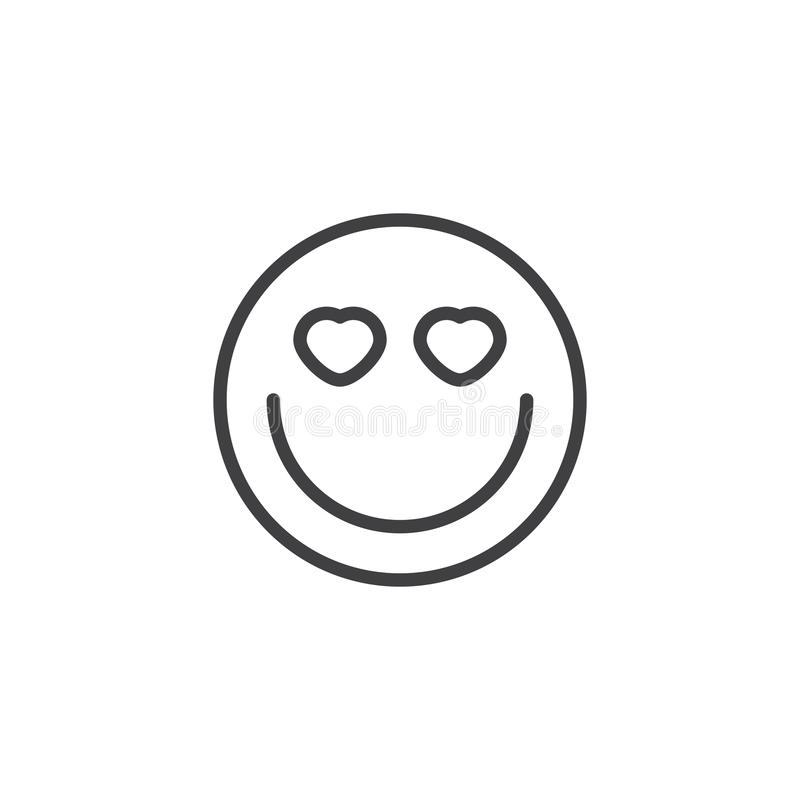 Smiling Face With Heart-Eyes emoji line icon. Linear style sign for mobile concept and web design. In love emoticon outline vector icon. Symbol, logo royalty free illustration