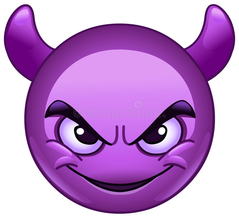 Smiling face with horns emoticon. Smiling face with horns. Purple devil emoticon stock illustration
