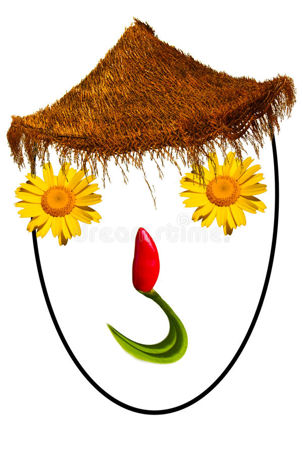 Smiling face made with flowers. And chilli with a straw on white background royalty free stock photos