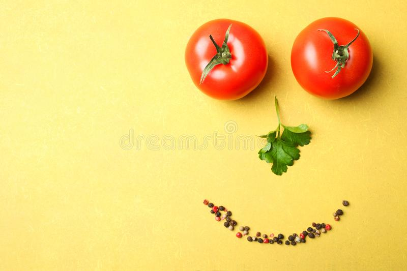 Smiling face made from vegetables stock images